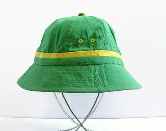 Bright Green Bucket Hat, Vintage Hat, Fisherman Cap, Old Man Hat, Size L