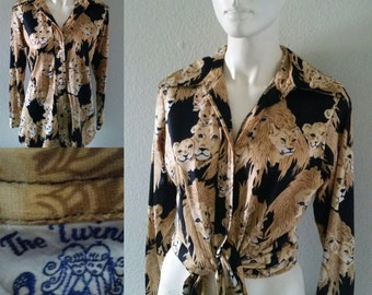 Vintage 60s 70s men's unisex The Twins Inc. Miami lion and tiger print disco shirt jungle print psychedelic boyfriend shirt cover up hippie