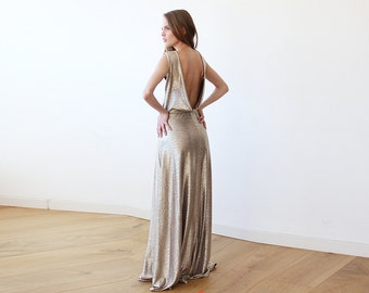 Gold Backless maxi sleeveless dress, Open back maxi gold gown 1127
