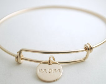 Mom Charm Bracelet - Hand Stamped Jewelry for Mom - Gift for Mothers -  Stamped Name Charm Jewelry