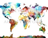 Multiple Sizes Watercolor Map Print, World Map, Watercolor World Painting