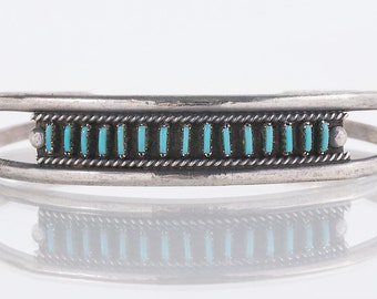 Turquoise Cuff - Vintage Zuni Sterling Silver Petit Point Turquoise Cuff