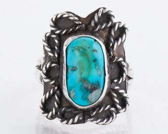 Turquoise Ring - Vintage Sterling Silver Turquoise Ring