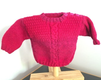 Hand knitted size 0 jumper mulberry pink mix coloured - 6-12 months 100% pure wool