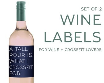 Set of (2) Wine Labels for CROSSFIT Lovers [Funny gift for Wine Lovers!]