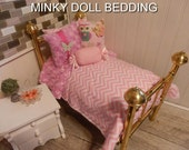 """Pink Chevron Comforter with Reversible Pink Minky,4 Decorative pillows. 18-20"""" Doll, #172"""