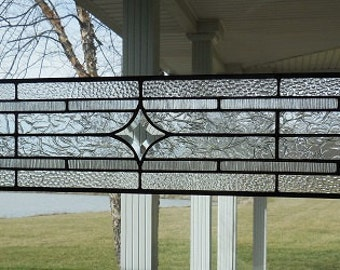 "Stained Glass Window Transom Panel Beveled Star and Textured Clear 32"" x 7"""