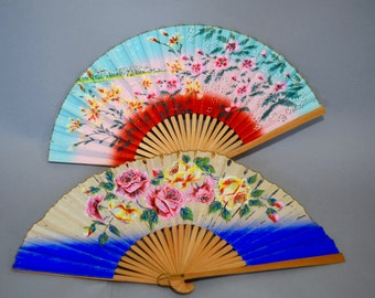 Pair of 40s/50s Hand Painted Fans Floral