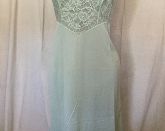 1950's slip  pale blue lace and nylon