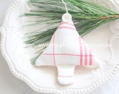 Custom Order for Stephanie/Vintage Textile, Handmade Stuffed Christmas Tree Ornament, Secret Santa, Stocking Stuffer Gift Inspiration