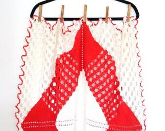 Vintage Hand Crochet Cream and Red Table Cover, Doily, Christmas Farmhouse Decor