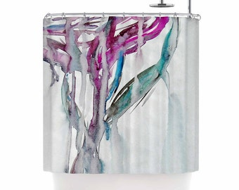 Shower Curtain, Shower Curtains, Pink and White, Magenta, Green, Flowers, Watercolor, Home Decor, Painting, Lovely, Art by Malia