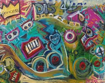 "Original Acrylic painting - Outsider art - Art Brut - Neo-Expression - Raw Art - ""Princess"""