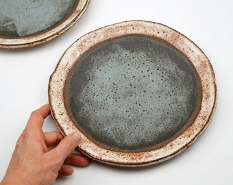 Ceramic Dinner Plate - Two Toned Dinner Plate - Pottery Plate - Rustic Dinner Plate