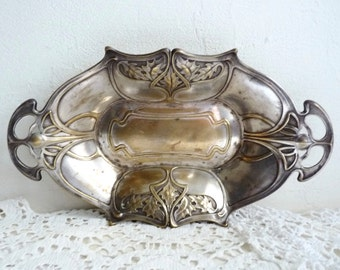 "Antique ART NOUVEAU BASKET, Jugendstil Design. Handled Silver Plated Brass Tray. W M F Germany. L 31.5cm x W 18cm or L 12.4 "" x W 7 ""."