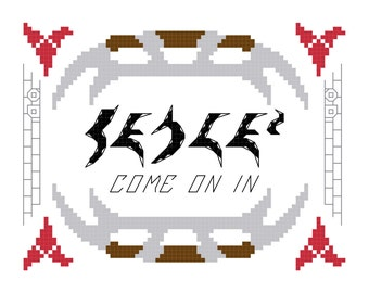 Cross Stitch Pattern -- Qapla', come on in, 5x7 welcoming cross stitch