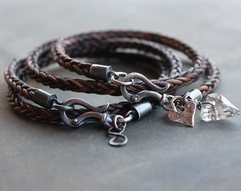 Couples gift Braided Leather Bracelets, anniversary gift, his and hers bracelets, Matching leather couples bracelets -  2 hearts forever