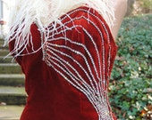 ON HOLD for second payment Vintage Red Velvet Holiday Gown with Crystal Rhinestones