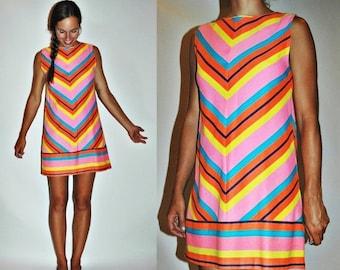 SHOP IS AWAY 1960s Striped Chevron Rainbow Bright Mini Dress