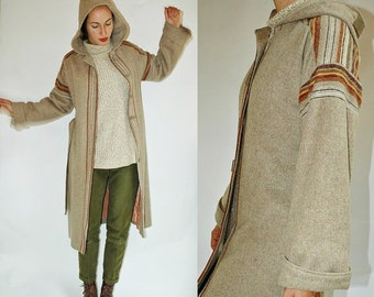 SHOP IS AWAY --- 1970s Striped Southwest Style Hooded Wool Coat