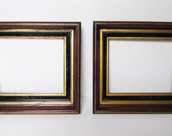 2 Antique Eastlake Solid Walnut Picture Frames c.1885 Incised Black Lacquer Panel & 2 Gold Panels/ Ready to Use/ Lovely Condition