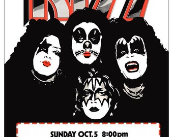 KISS Rochester Dome 1975 24 x 33 Inch Reproduction Concert Poster - Choice Of White Or Brown Background Posters Collectibles Gift Idea