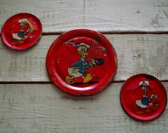 Set of 3 DONALD DUCK Ohio Art Disney 1930's TIN Toy Plates