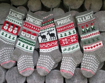 Avialible 2017!!Christmas Stocking Personalized Wool Hand knit Gray Red Green White Deer Santa  Gnomes Snowman Snowflakes Trees gift