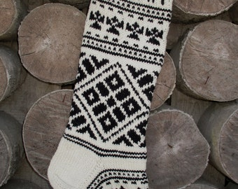 Christmas Stocking Personalized Black and White Hand knit Snowflake ornament Christmas decoration