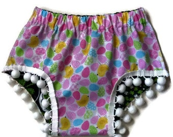 Spring Easter Pastel St. Patricks Day Shamrock Clover Pom Pom Shorties Bloomers Diaper Cover Shorts