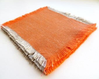 Vintage Cotton and Linen Napkins Set of 4 Halloween Orange Table Napkins from 80s Fine Old Fashion Fringy Dinner Napkins Small Placemats