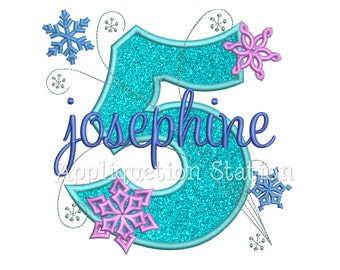 Snowflakes Number Five 5th Birthday Applique Machine Embroidery Design fifth winter frozen INSTANT DOWNLOAD