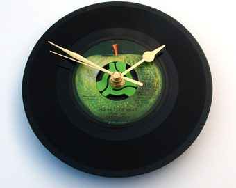 "Badfinger, Vinyl Record CLOCK, "" No Matter What "", made from a recycled 7"" record,  retro gift for 60s music fans, black and green, apple"