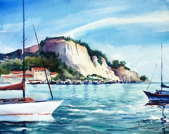 Original Watercolor of the South of France