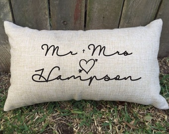 Mr + Mrs Surname couples pillow for the perfect wedding & engagement gift, bridal shower or housewarming gift + anniversary gift and more