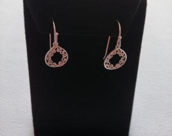 Dangle Earrings with Inner Border Filigree in Sterling Silver