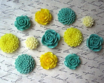 Resin Roses and Mums, 12 pcs Sage Green and Yellow Cabochon Flowers, Resin Roses, Resin Dahlias, No Holes, Flat Backs, 15mm to 24mm