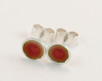 Pink heart patterned enamel silver stud earrings