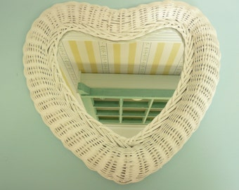 Vintage White Wicker Wall Mirror, Heart Shape Shaped - Vintage Travel Trailer Decor