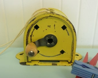 1950s Yellow Clothesline Reel, Original Yellow Paint, Wooden Knob, Camping Clothes Line, Rectractable, Acme Brand