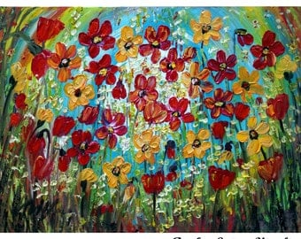 Painting Embellished Print SPRING FLOWERS Large Giclee Glossy Canvas Flowers  Painting by Luiza Vizoli 40x30 canvas ready to hang