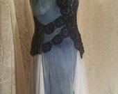 Shabyy chic boho chic hand dip dyed doily dress
