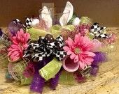 Bunny Centerpiece, floral arrangement, Easter centerpiece, bunny wreath