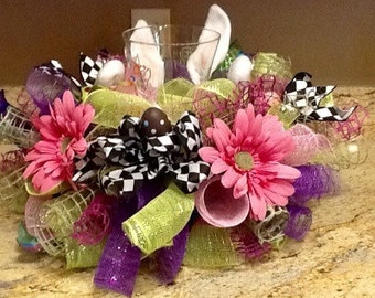 Bunny Centerpiece, floral arrangement, Easter centerpiece, bunny wreath