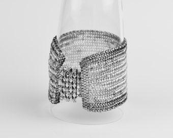 Japanese seed beads wide cuff. (B10027)