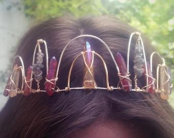 Crystal Crown with Tangerine Aura Quartz, Rose Aura Quartz & Labradorite