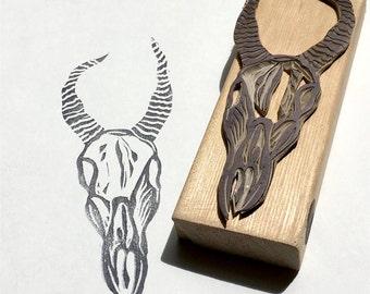 Antelope skull stamp, skull stamp, antelope stamp, wild animal stamp, animal stamp, horns, skulls, animal skull, outdoors, camping