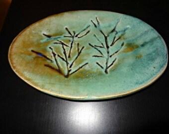 Twig Platter - handbuilt pottery