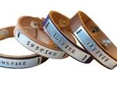 Inspire custom made leather bracelet, leather cuff bracelet for men & women , inspirational jewelry, ID bracelet