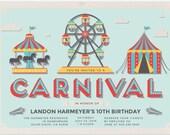 Carnival Birthday Invitation - Kid's Birthday Party - Carnival Party - Children's Birthday Party - Birthday Party Invitation